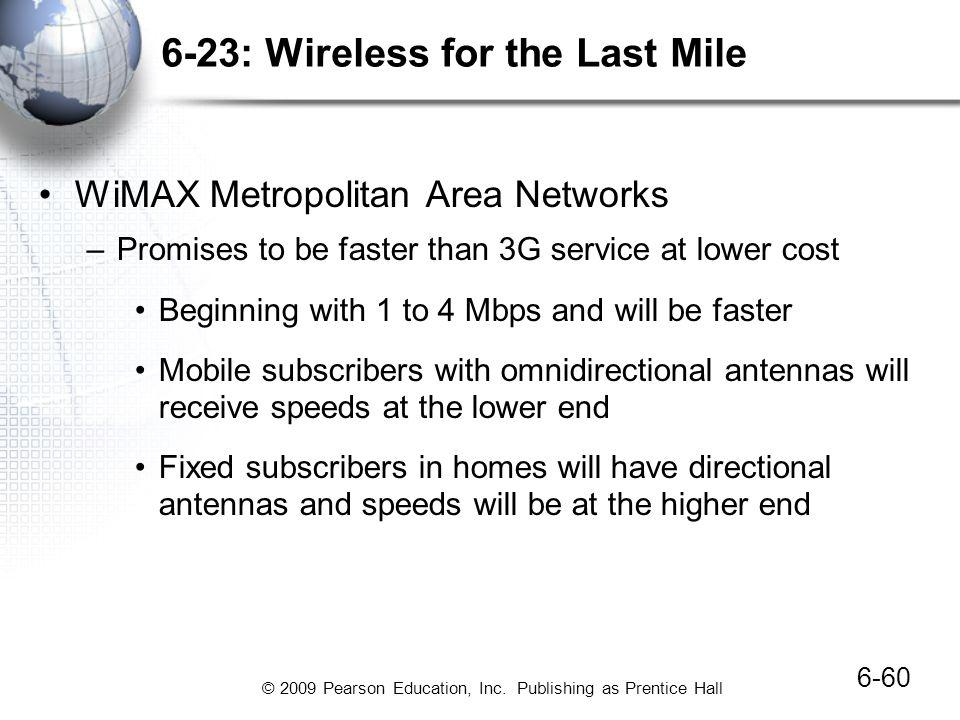 © 2009 Pearson Education, Inc. Publishing as Prentice Hall 6-23: Wireless for the Last Mile 6-60 WiMAX Metropolitan Area Networks –Promises to be fast