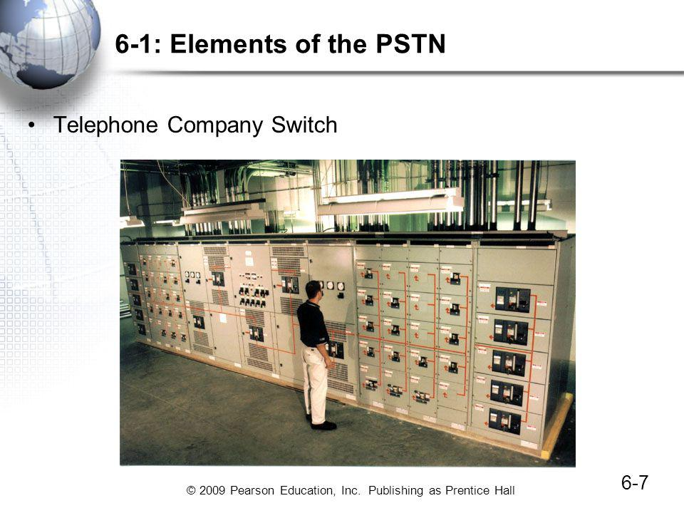 © 2009 Pearson Education, Inc. Publishing as Prentice Hall 6-7 6-1: Elements of the PSTN Telephone Company Switch