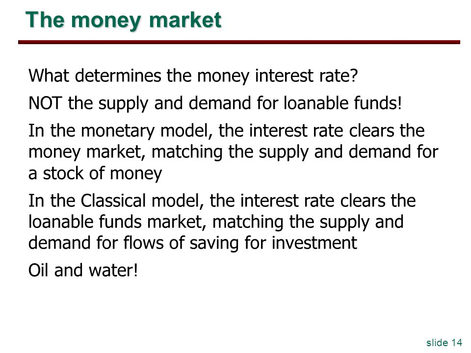 slide 14 The money market What determines the money interest rate? NOT the supply and demand for loanable funds! In the monetary model, the interest r