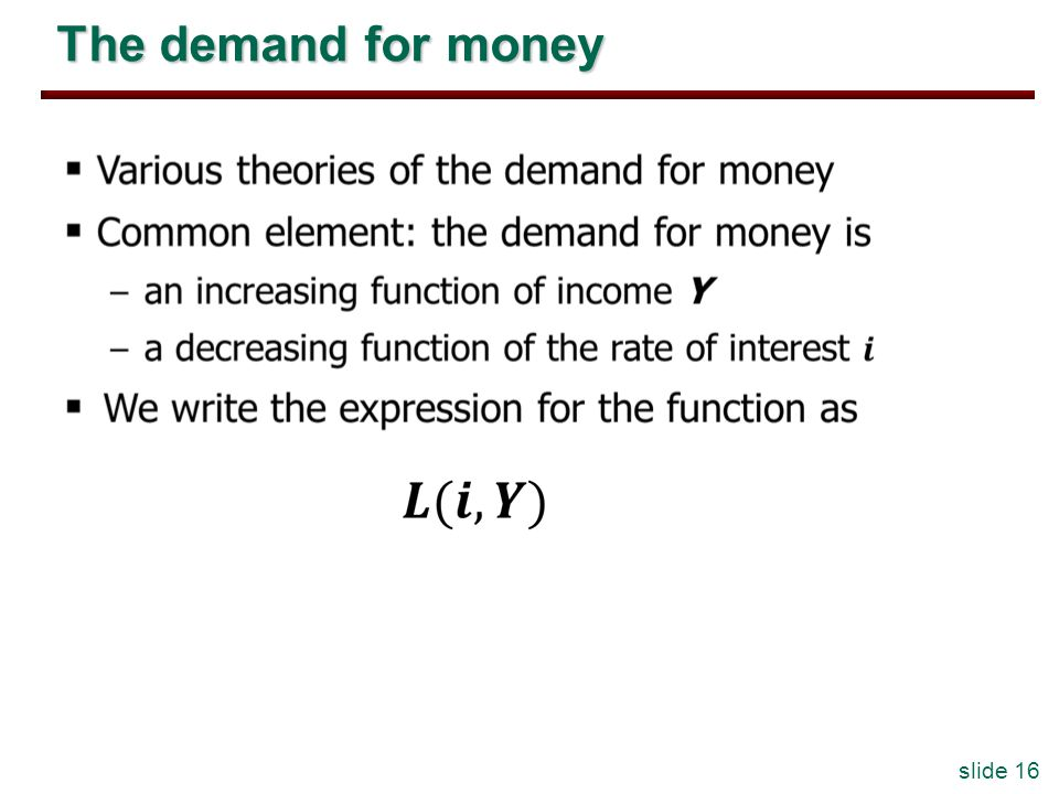 slide 16 The demand for money