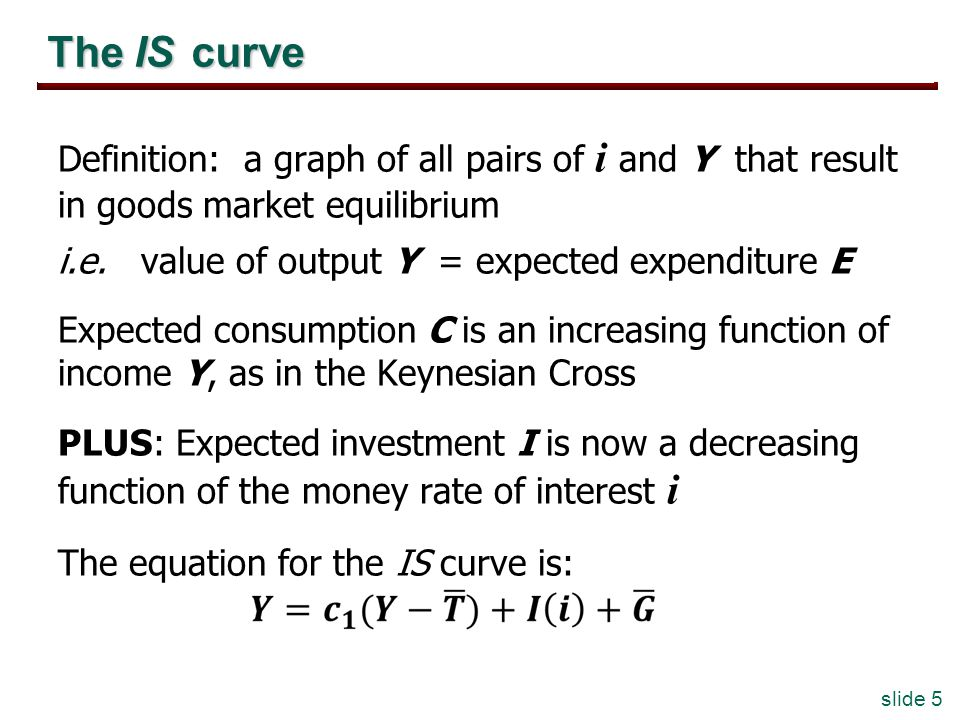 slide 5 The IS curve Definition: a graph of all pairs of i and Y that result in goods market equilibrium i.e. value of output Y = expected expenditure