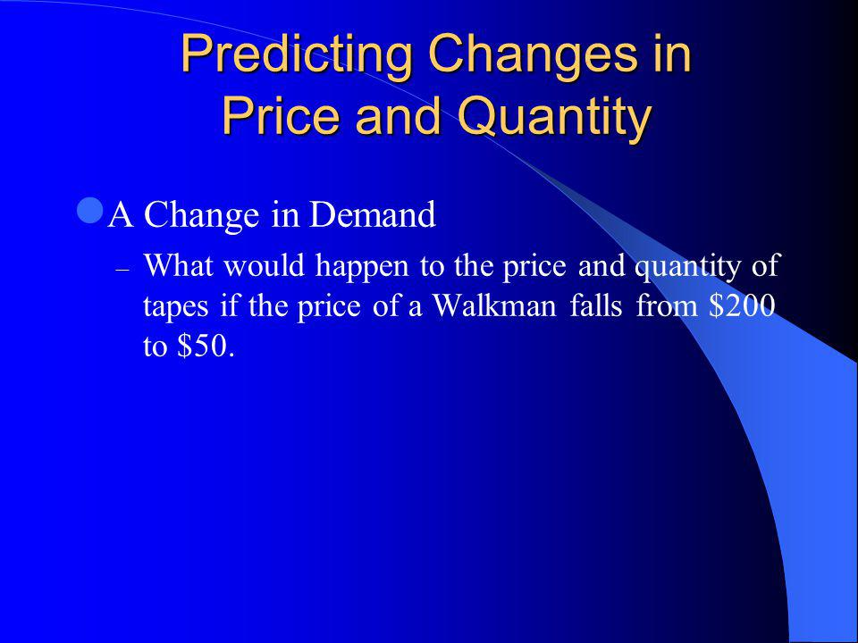 Predicting Changes in Price and Quantity A Change in Demand – What would happen to the price and quantity of tapes if the price of a Walkman falls from $200 to $50.