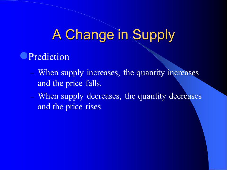 A Change in Supply Prediction – When supply increases, the quantity increases and the price falls.