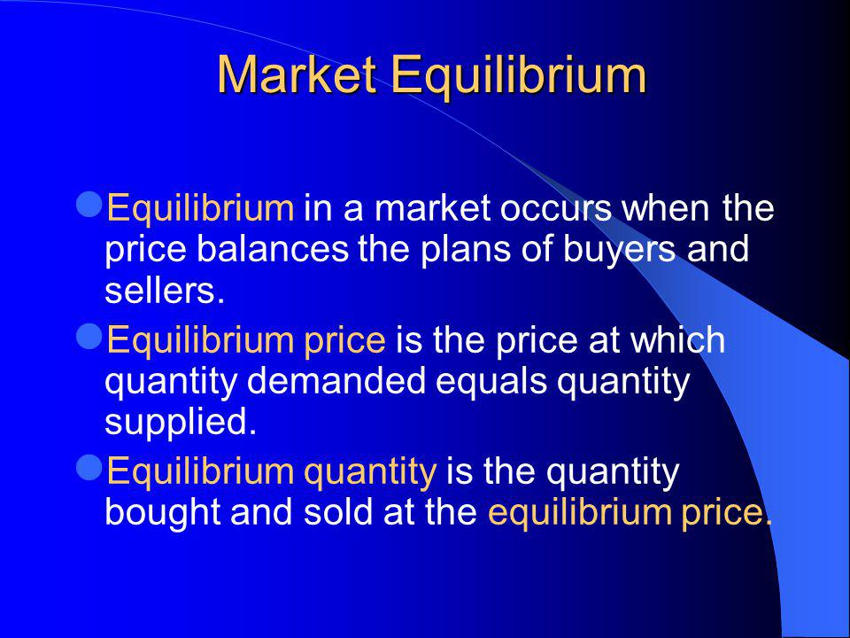 Market Equilibrium Equilibrium in a market occurs when the price balances the plans of buyers and sellers.