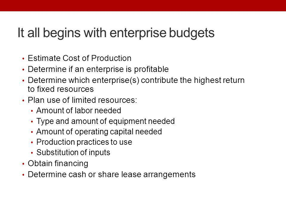 It all begins with enterprise budgets Estimate Cost of Production Determine if an enterprise is profitable Determine which enterprise(s) contribute th