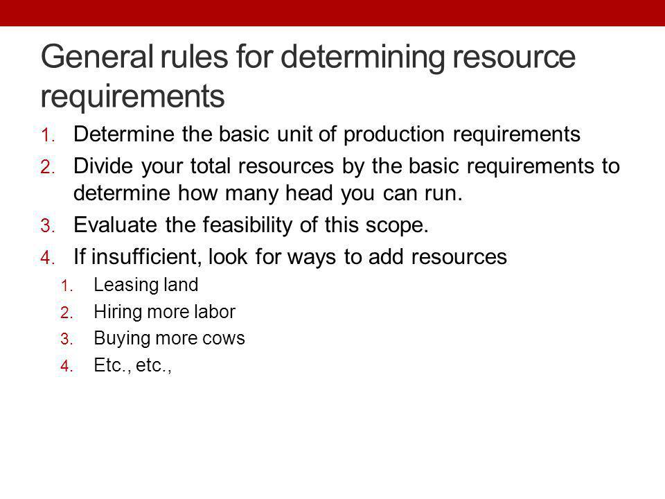 General rules for determining resource requirements 1. Determine the basic unit of production requirements 2. Divide your total resources by the basic
