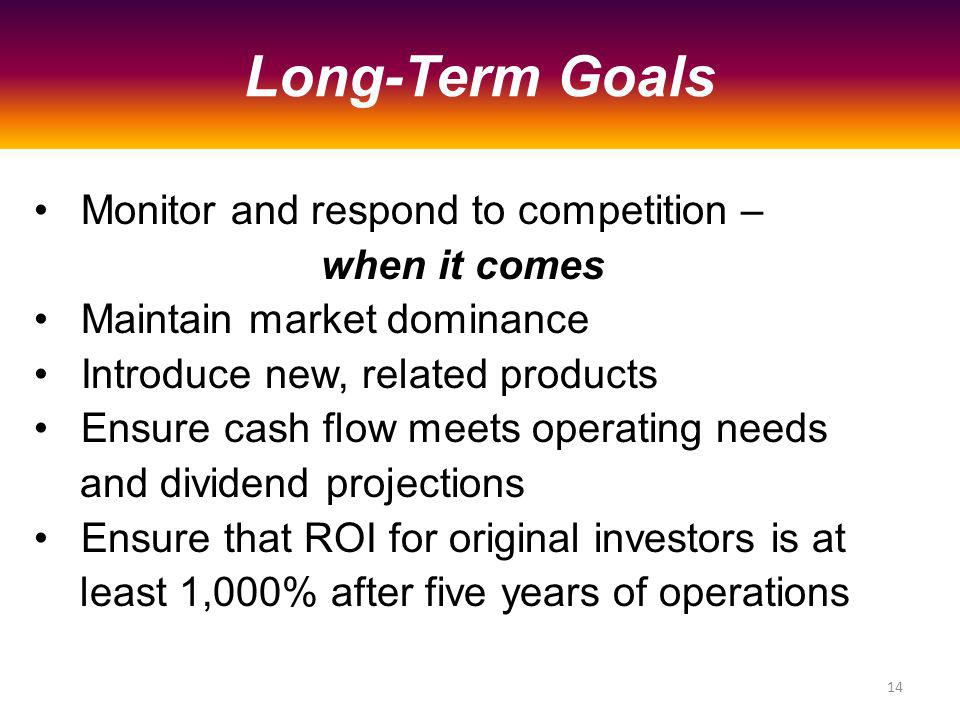 Monitor and respond to competition – when it comes Maintain market dominance Introduce new, related products Ensure cash flow meets operating needs and dividend projections Ensure that ROI for original investors is at least 1,000% after five years of operations Long-Term Goals 14