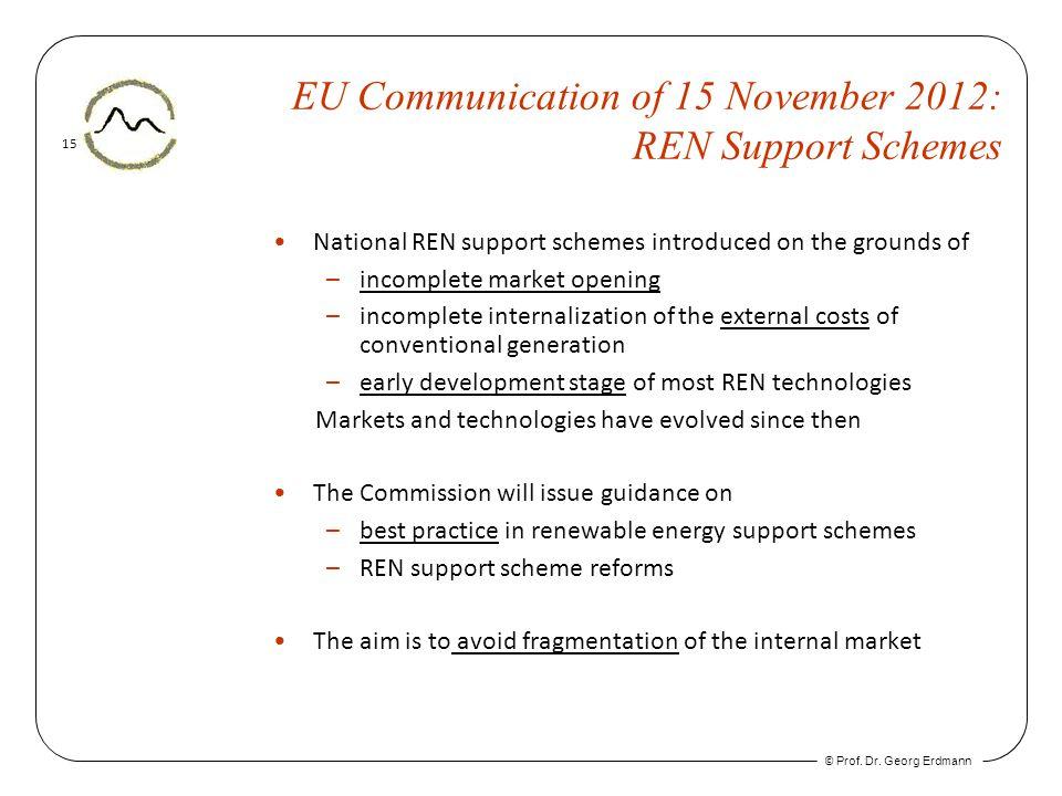 © Prof. Dr. Georg Erdmann 15 EU Communication of 15 November 2012: REN Support Schemes National REN support schemes introduced on the grounds of –inco