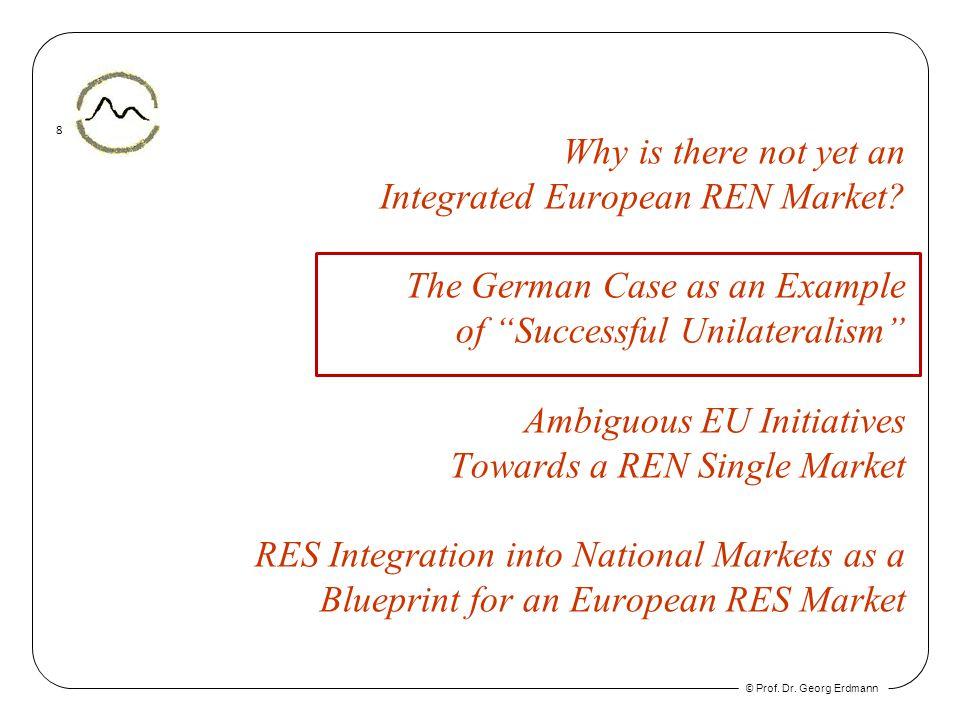 © Prof. Dr. Georg Erdmann 8 Why is there not yet an Integrated European REN Market.