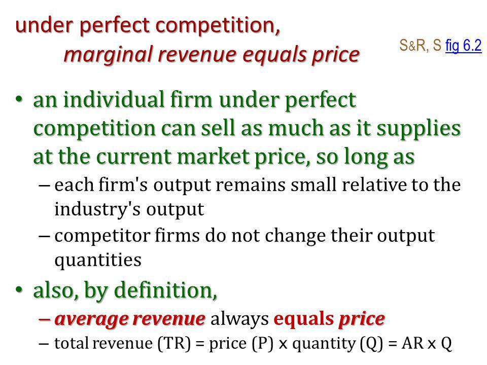 Key Assumption: Firms maximise Profits Profit equals Profit ( ) equals S & R, S fig 7.1fig 7.1 – total revenue (TR) minus total cost (TC) Profit-maximising Quantity Profit-maximising Quantity – firms maximise profit at quantity (Q) when marginal cost (MC) = (MR) marginal revenue perfect competition – with perfect competition, MR = price so, in a perfectly competitive market, a profit- maximising firm supplies the quantity for which: marginal cost = marginal revenue = price S & R, S fig 7.2 also 7.11fig 7.27.11 fig 7.2fig 7.2 again