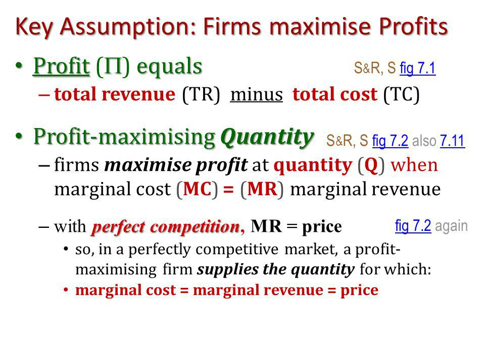 Key Assumption: Firms maximise Profits Profit equals Profit ( ) equals S & R, S fig 7.1fig 7.1 – total revenue (TR) minus total cost (TC) Profit-maximising Quantity Profit-maximising Quantity – firms maximise profit at quantity (Q) when marginal cost (MC) = (MR) marginal revenue perfect competition – with perfect competition, MR = price so, in a perfectly competitive market, a profit- maximising firm supplies the quantity for which: marginal cost = marginal revenue = price S & R, S fig 7.2 also 7.11fig 7.27.11 fig 7.2fig 7.2 again