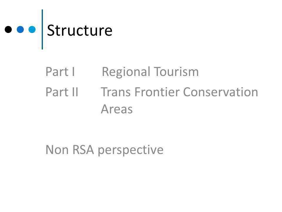 Structure Part I Regional Tourism Part II Trans Frontier Conservation Areas Non RSA perspective