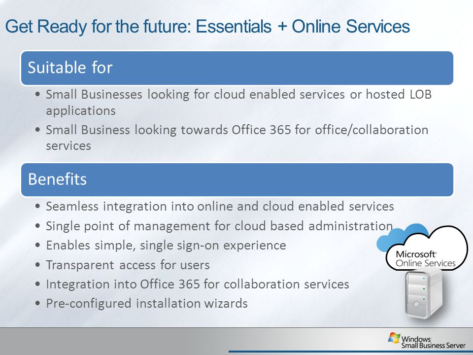Get Ready for the future: Essentials + Online Services Suitable for Small Businesses looking for cloud enabled services or hosted LOB applications Small Business looking towards Office 365 for office/collaboration services Benefits Seamless integration into online and cloud enabled services Single point of management for cloud based administration Enables simple, single sign-on experience Transparent access for users Integration into Office 365 for collaboration services Pre-configured installation wizards