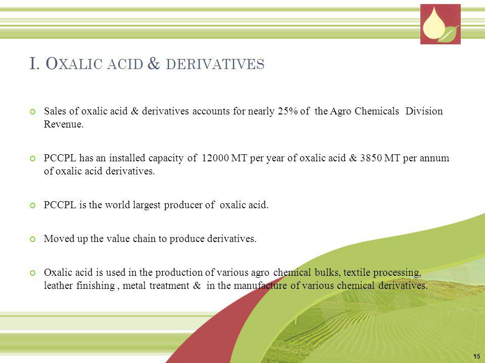 I. O XALIC ACID & DERIVATIVES Sales of oxalic acid & derivatives accounts for nearly 25% of the Agro Chemicals Division Revenue. PCCPL has an installe
