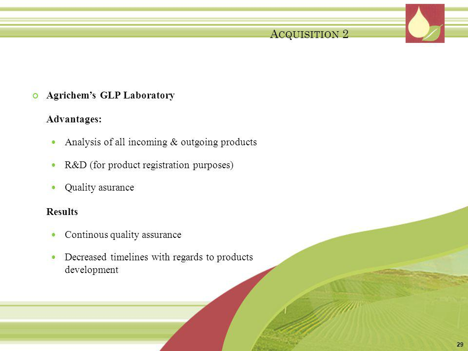 Agrichems GLP Laboratory Advantages: Analysis of all incoming & outgoing products R&D (for product registration purposes) Quality asurance Results Con