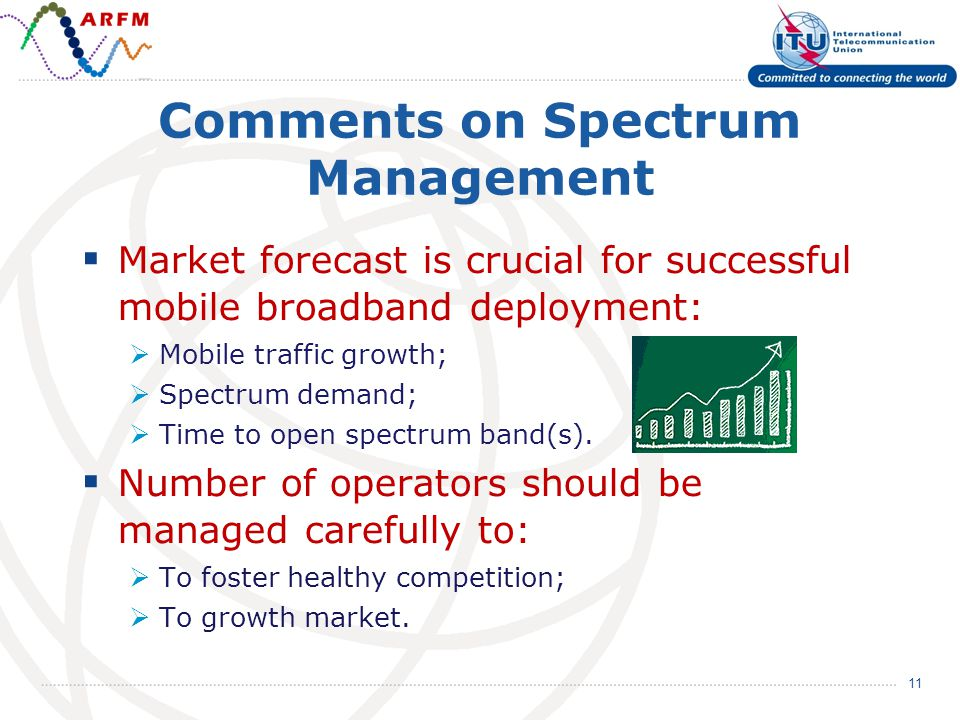 Comments on Spectrum Management Market forecast is crucial for successful mobile broadband deployment: Mobile traffic growth; Spectrum demand; Time to open spectrum band(s).