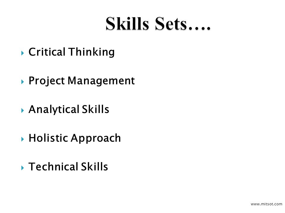 Critical Thinking Project Management Analytical Skills Holistic Approach Technical Skills