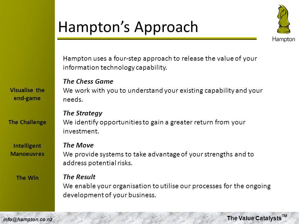 The Value Catalysts TM info@hampton.co.nz Hamptons Approach Hampton uses a four-step approach to release the value of your information technology capa
