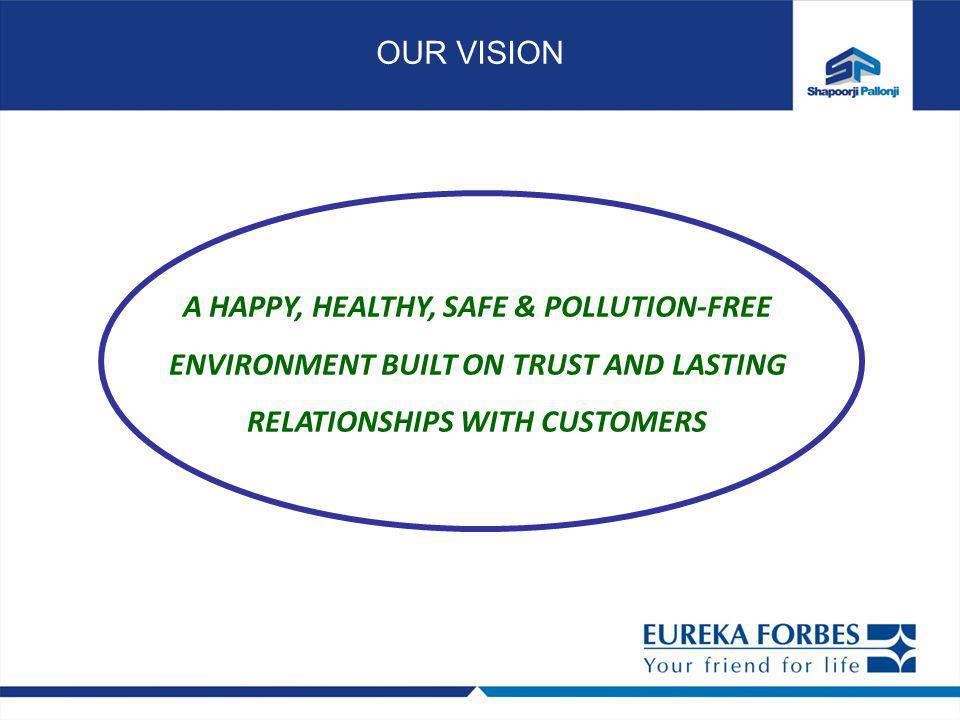 A HAPPY, HEALTHY, SAFE & POLLUTION-FREE ENVIRONMENT BUILT ON TRUST AND LASTING RELATIONSHIPS WITH CUSTOMERS OUR VISION
