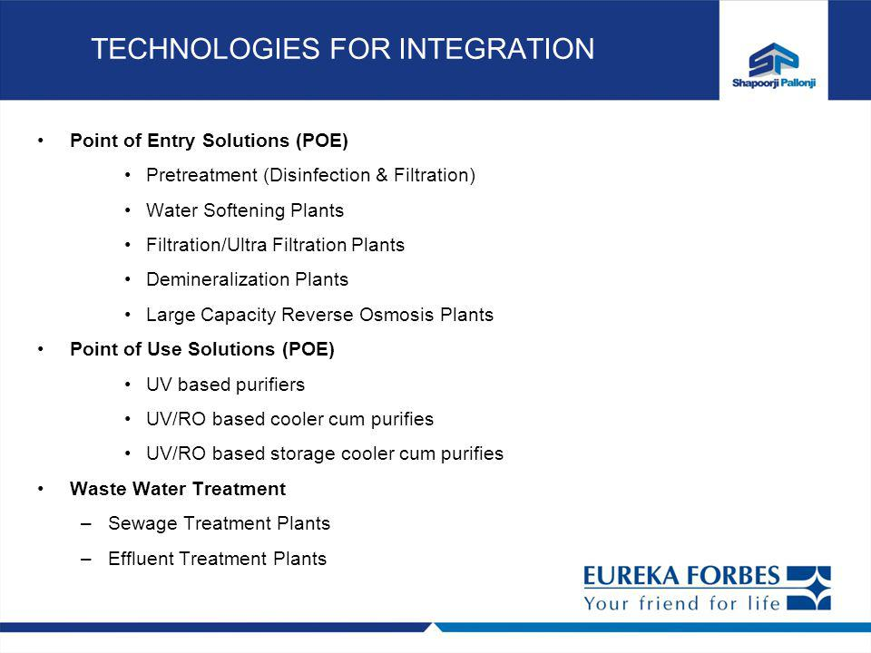 TECHNOLOGIES FOR INTEGRATION Point of Entry Solutions (POE) Pretreatment (Disinfection & Filtration) Water Softening Plants Filtration/Ultra Filtration Plants Demineralization Plants Large Capacity Reverse Osmosis Plants Point of Use Solutions (POE) UV based purifiers UV/RO based cooler cum purifies UV/RO based storage cooler cum purifies Waste Water Treatment –Sewage Treatment Plants –Effluent Treatment Plants