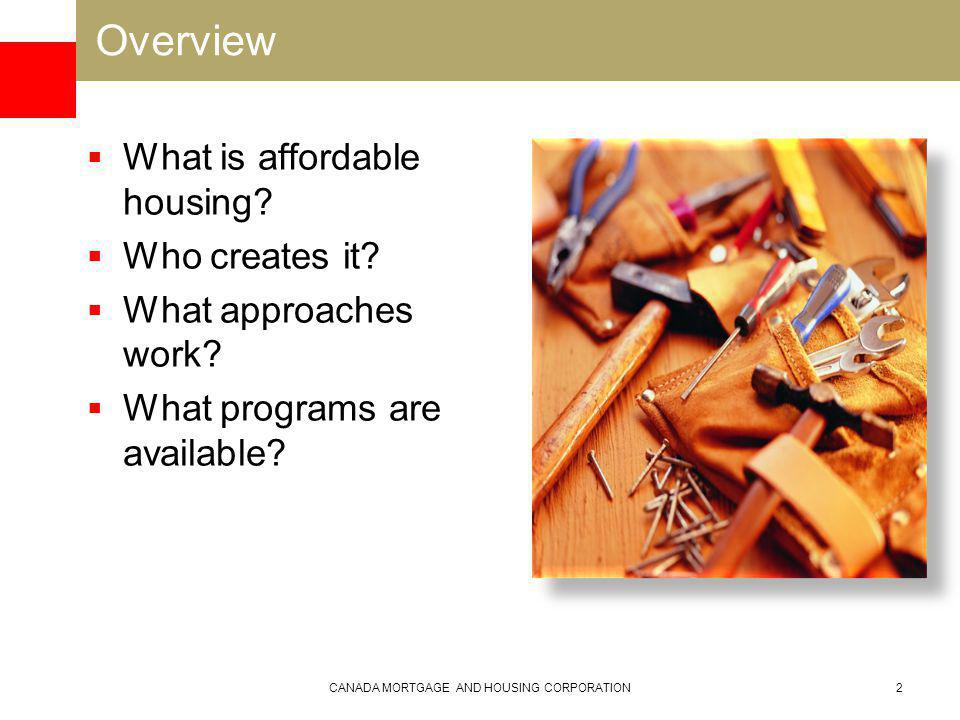 Overview What is affordable housing. Who creates it.