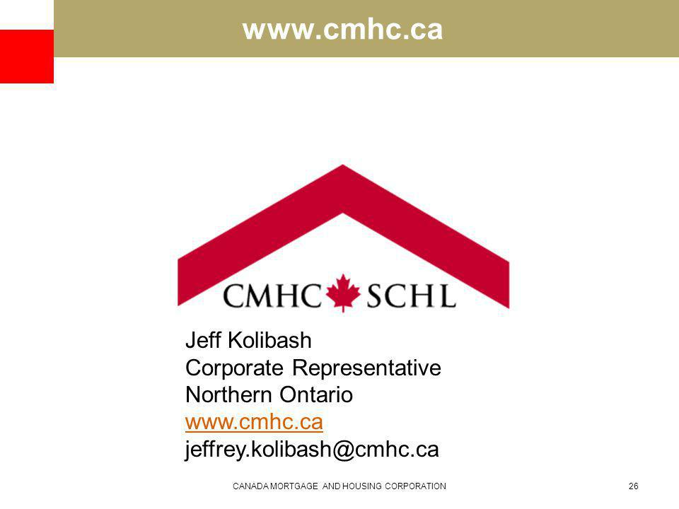www.cmhc.ca CANADA MORTGAGE AND HOUSING CORPORATION26 Jeff Kolibash Corporate Representative Northern Ontario www.cmhc.ca jeffrey.kolibash@cmhc.ca
