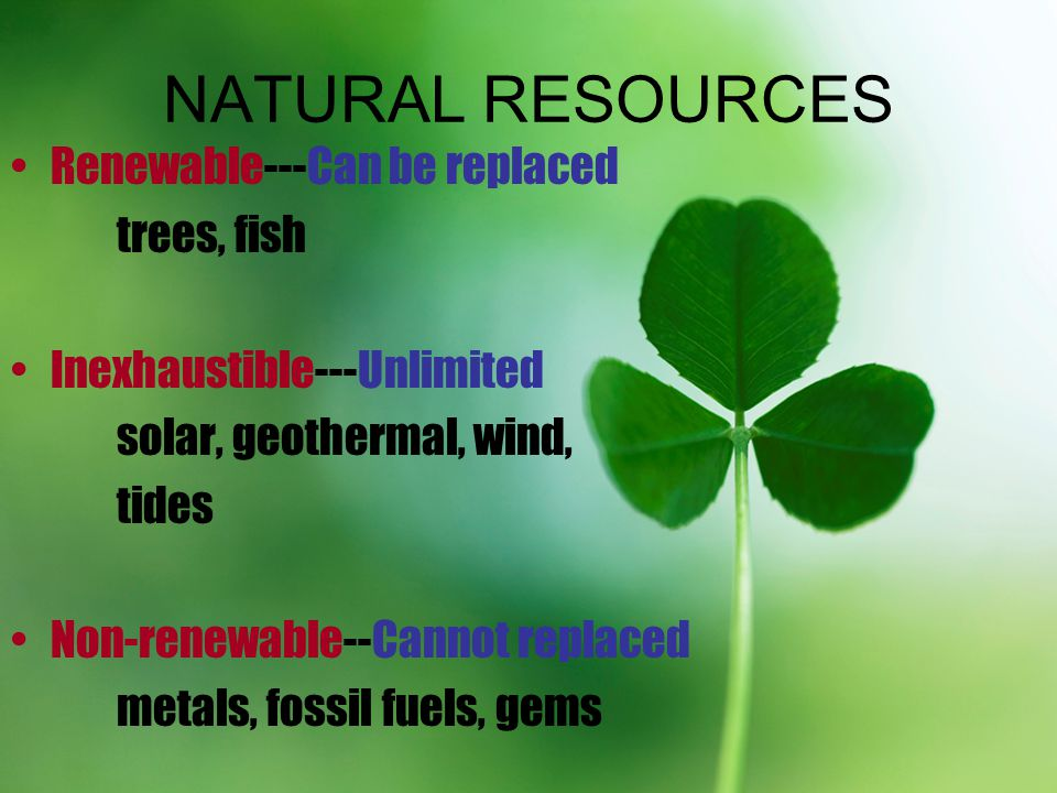 NATURAL RESOURCES Renewable---Can be replaced trees, fish Inexhaustible---Unlimited solar, geothermal, wind, tides Non-renewable--Cannot replaced meta