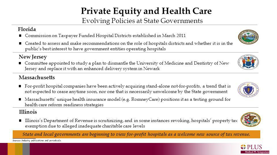 Evolving Policies at State Governments New Jersey Florida Massachusetts Committee appointed to study a plan to dismantle the University of Medicine and Dentistry of New Jersey and replace it with an enhanced delivery system in Newark Commission on Taxpayer Funded Hospital Districts established in March 2011 Created to assess and make recommendations on the role of hospitals districts and whether it is in the publics best interest to have government entities operating hospitals For-profit hospital companies have been actively acquiring stand-alone not-for-profits, a trend that is not expected to cease anytime soon, nor one that is necessarily unwelcome by the State government Massachusetts unique health insurance model (e.g.