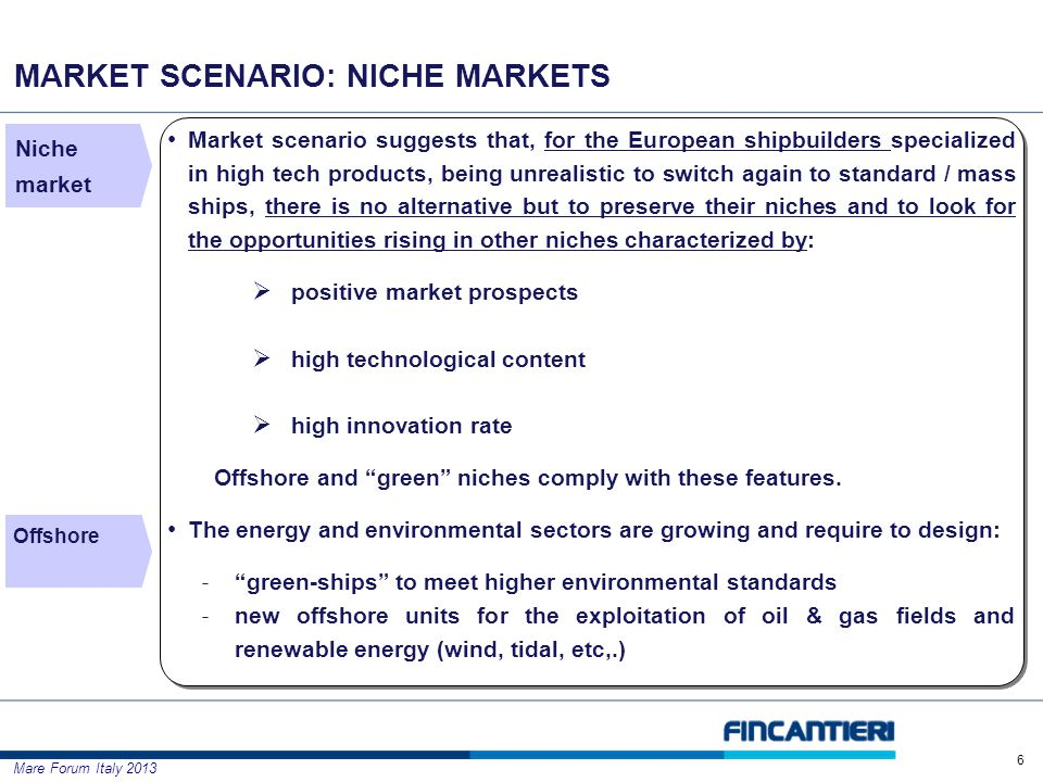 Mare Forum Italy 2013 MARKET SCENARIO: NICHE MARKETS 6 Offshore Market scenario suggests that, for the European shipbuilders specialized in high tech