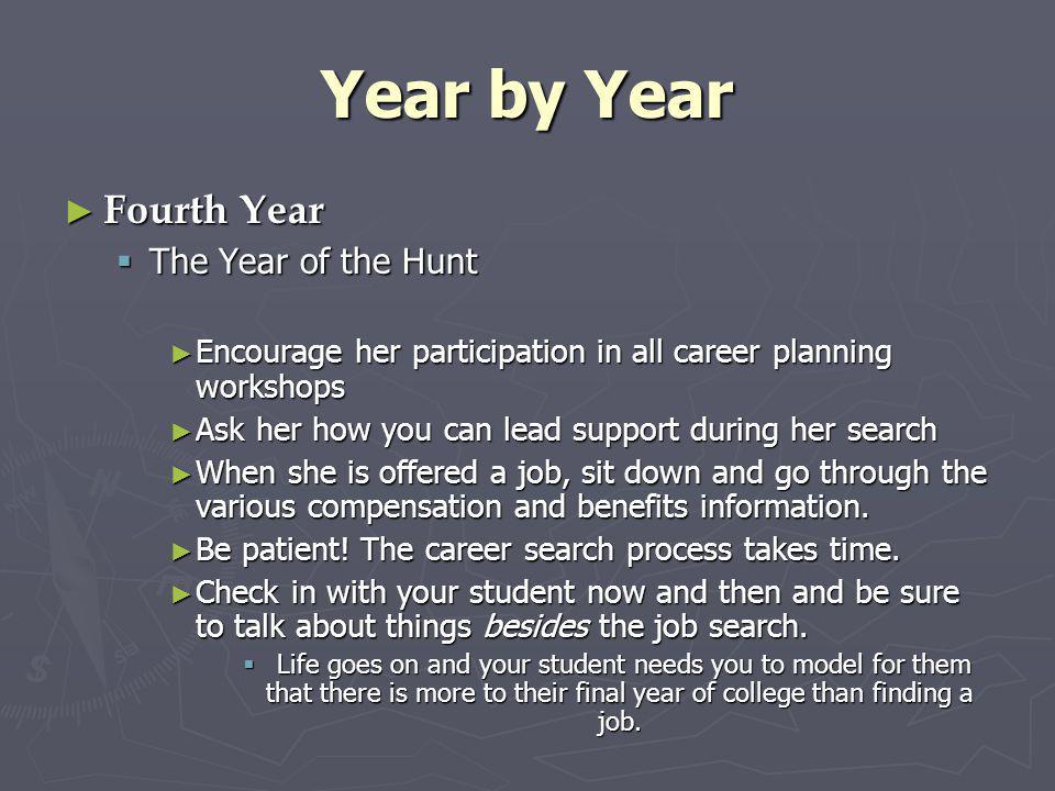 Year by Year Fourth Year Fourth Year The Year of the Hunt The Year of the Hunt Encourage her participation in all career planning workshops Encourage