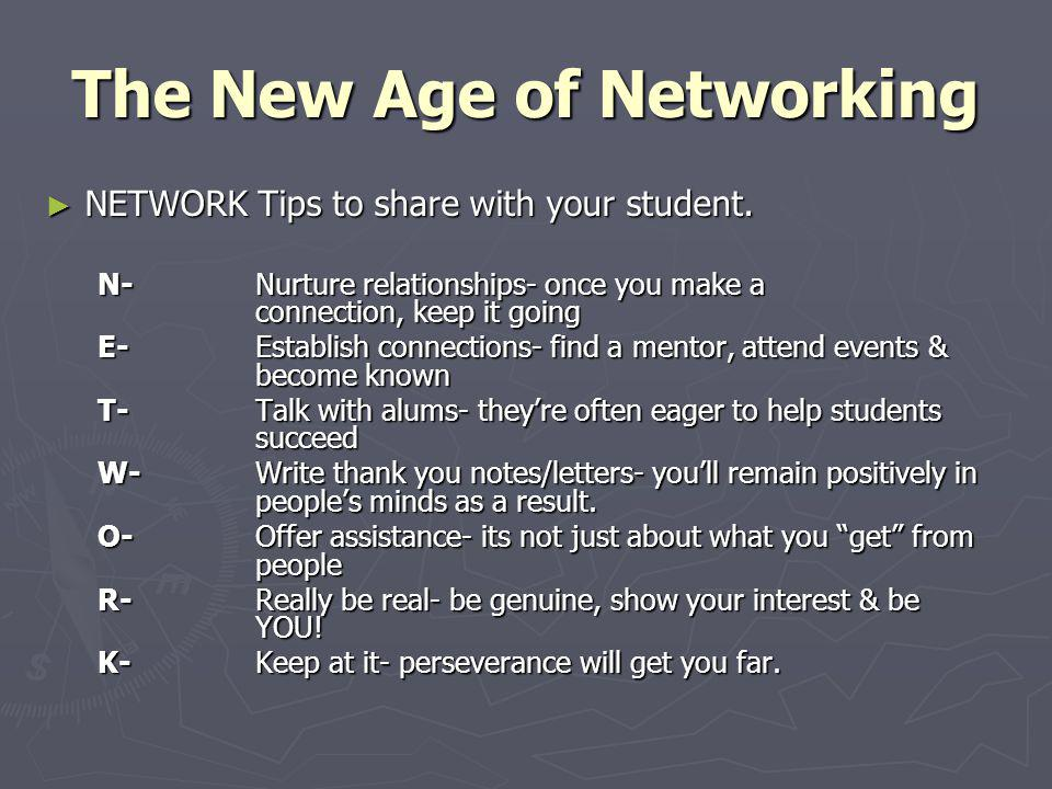 The New Age of Networking NETWORK Tips to share with your student. NETWORK Tips to share with your student. N-Nurture relationships- once you make a c