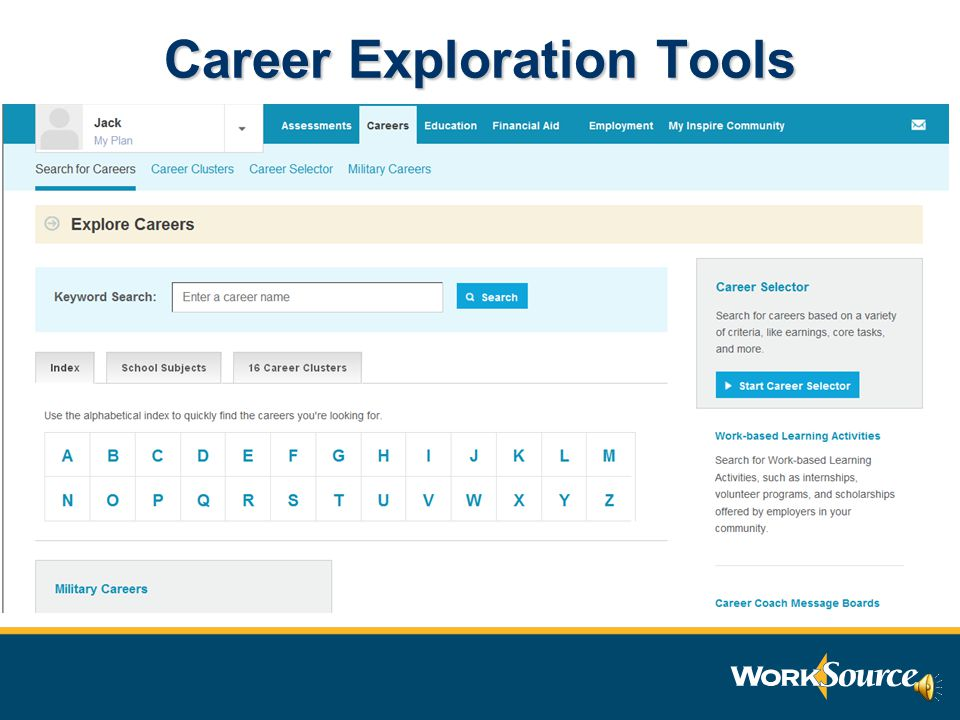Assessments, careers, skills, abilities, and learning inventory