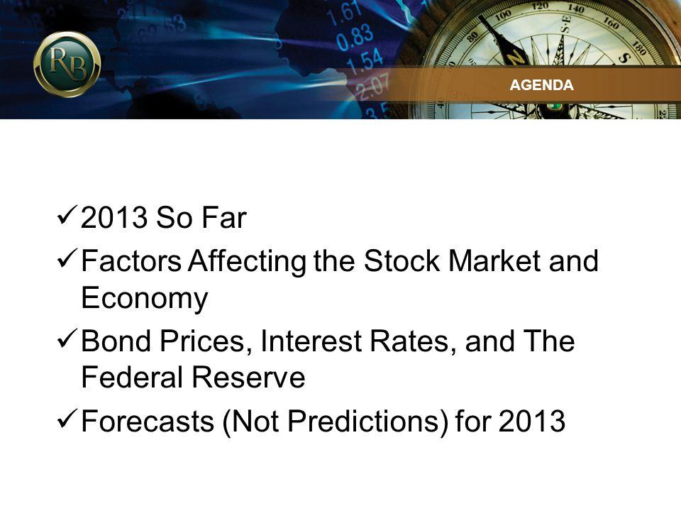 2013 So Far Factors Affecting the Stock Market and Economy Bond Prices, Interest Rates, and The Federal Reserve Forecasts (Not Predictions) for 2013 A