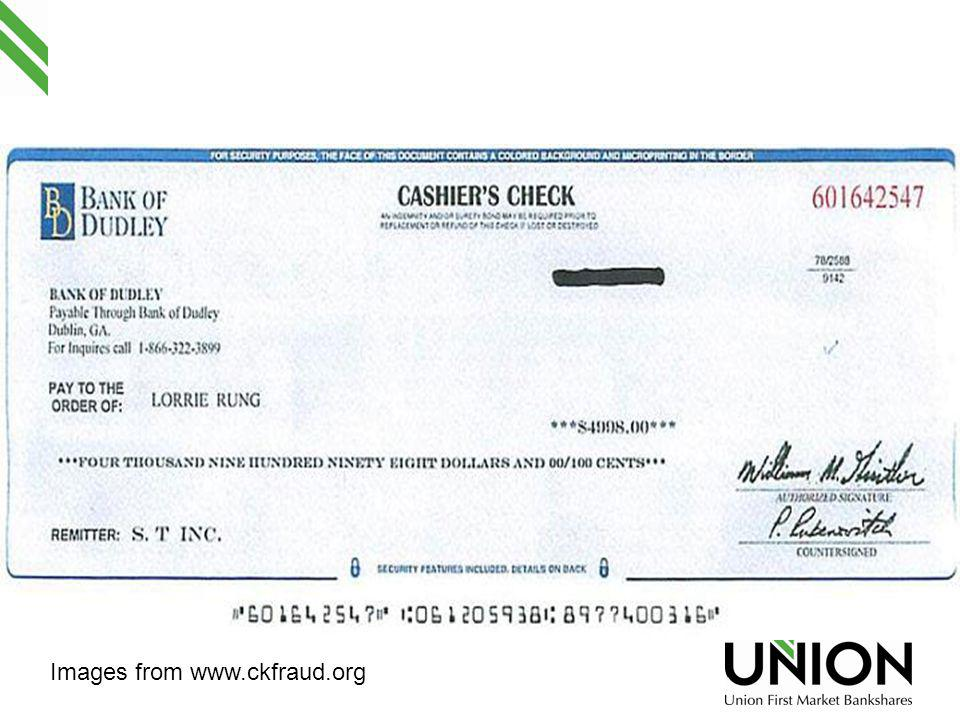 Secret Shopper Scam/Survey See handout for example of letter and counterfeit cashiers check.