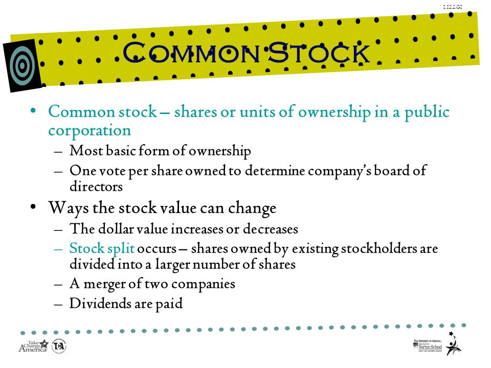 1.12.2.G1 Common Stock Common stock – shares or units of ownership in a public corporation –Most basic form of ownership –One vote per share owned to determine companys board of directors Ways the stock value can change –The dollar value increases or decreases –Stock split occurs – shares owned by existing stockholders are divided into a larger number of shares –A merger of two companies –Dividends are paid