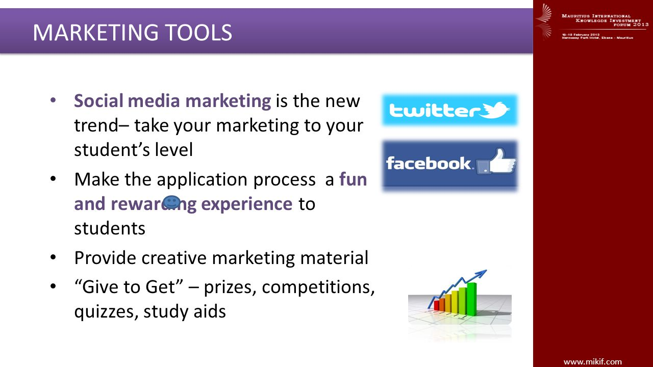 www.mikif.com MARKETING TOOLS Social media marketing is the new trend– take your marketing to your students level Make the application process a fun a