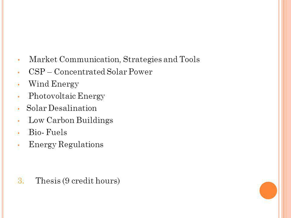 Market Communication, Strategies and Tools CSP – Concentrated Solar Power Wind Energy Photovoltaic Energy Solar Desalination Low Carbon Buildings Bio- Fuels Energy Regulations 3.