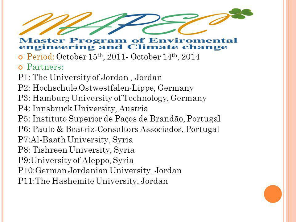 Period: October 15 th, 2011- October 14 th, 2014 Partners: P1: The University of Jordan, Jordan P2: Hochschule Ostwestfalen-Lippe, Germany P3: Hamburg University of Technology, Germany P4: Innsbruck University, Austria P5: Instituto Superior de Paços de Brandão, Portugal P6: Paulo & Beatriz-Consultors Associados, Portugal P7:Al-Baath University, Syria P8: Tishreen University, Syria P9:University of Aleppo, Syria P10:German Jordanian University, Jordan P11:The Hashemite University, Jordan