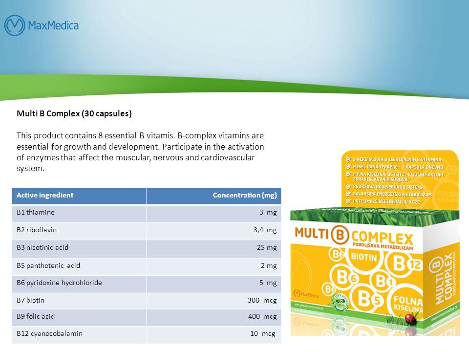 Multi B Complex (30 capsules) This product contains 8 essential B vitamis.