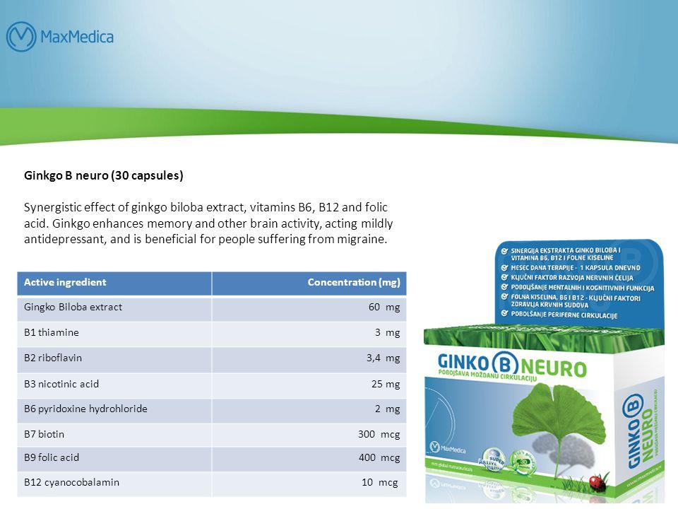 Ginkgo B neuro (30 capsules) Synergistic effect of ginkgo biloba extract, vitamins B6, B12 and folic acid.