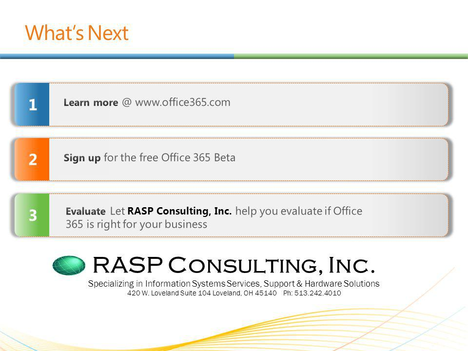 Whats Next 2 1 3 RASP Consulting, Inc.