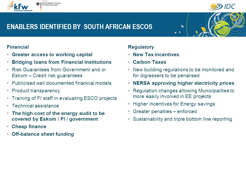 ENABLERS IDENTIFIED BY SOUTH AFRICAN ESCOS Financial Greater access to working capital Bridging loans from Financial Institutions Risk Guarantees from