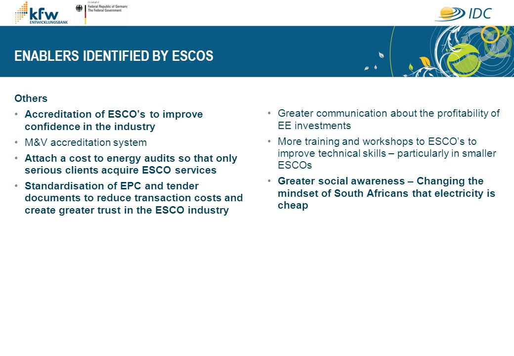 ENABLERS IDENTIFIED BY ESCOS Others Accreditation of ESCOs to improve confidence in the industry M&V accreditation system Attach a cost to energy audi