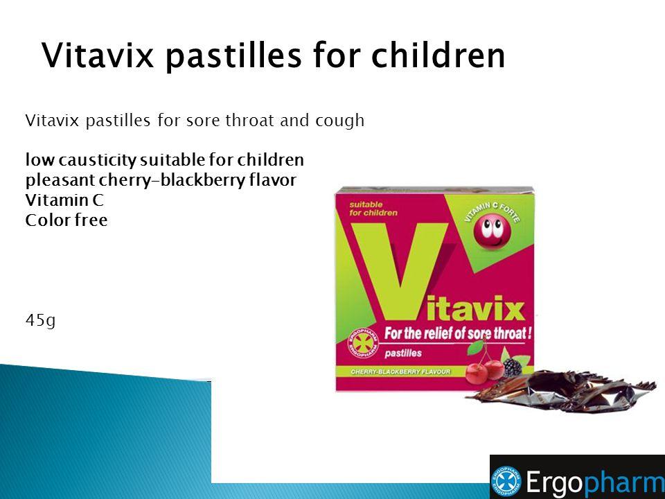 Vitavix pastilles for sore throat and cough low causticity suitable for children pleasant cherry-blackberry flavor Vitamin C Color free 45g Vitavix pa
