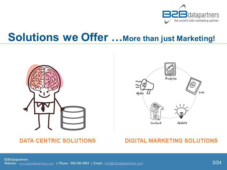 B2Bdatapartners Website:- www.b2bdatapartners.com | Phone:- 800-382-4081 | Email:- info@b2bdatapartners.comwww.b2bdatapartners.cominfo@b2bdatapartners.com 2/24 DIGITAL MARKETING SOLUTIONS Solutions we Offer … More than just Marketing.