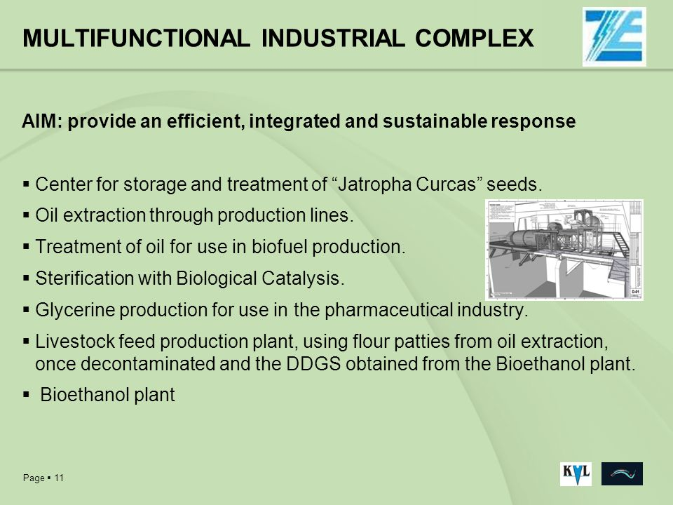Page 11 MULTIFUNCTIONAL INDUSTRIAL COMPLEX AIM: provide an efficient, integrated and sustainable response Center for storage and treatment of Jatropha
