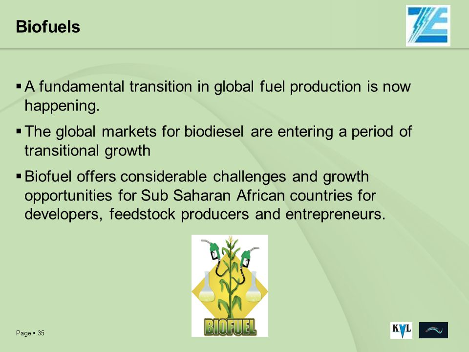 Page 35 Biofuels A fundamental transition in global fuel production is now happening. The global markets for biodiesel are entering a period of transi