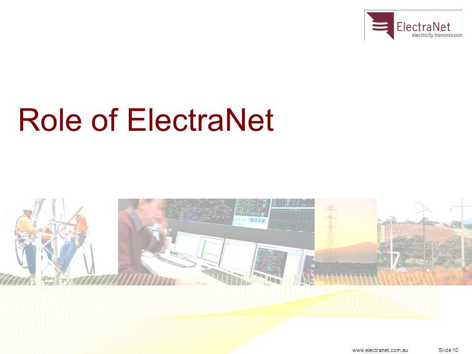 www.electranet.com.au Slide 10 Role of ElectraNet