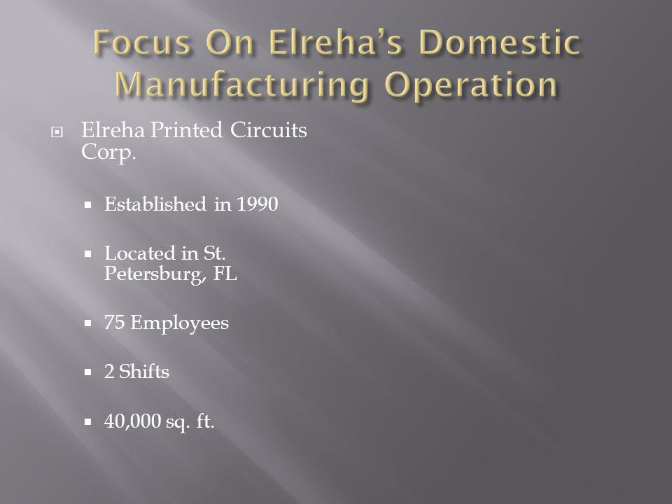 Elreha Printed Circuits Corp. Established in 1990 Located in St.