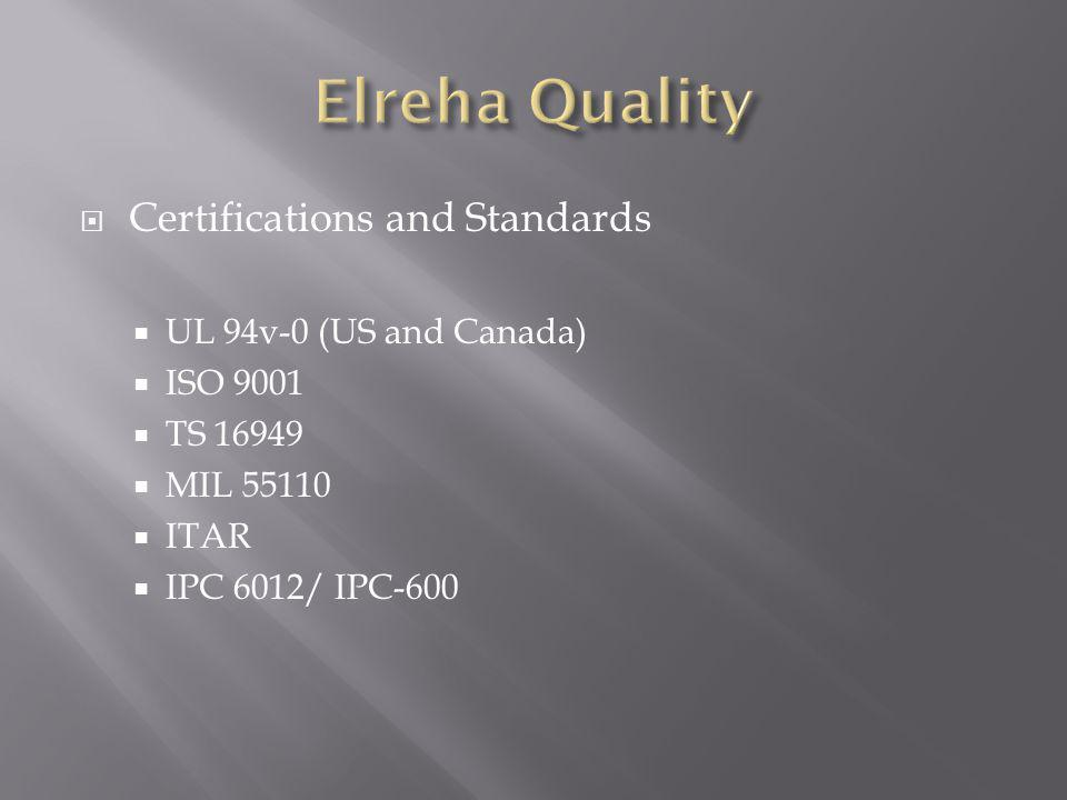 Certifications and Standards UL 94v-0 (US and Canada) ISO 9001 TS 16949 MIL 55110 ITAR IPC 6012/ IPC-600